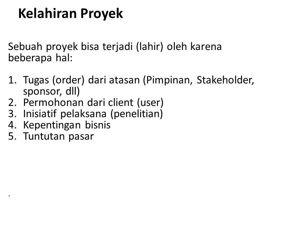 Kelahiran Proyek Sebuah proyek bisa terjadi (lahir) oleh karena beberapa hal: 1.Tugas (order) dari atasan (Pimpinan, Stakeholder, sponsor, dll) 2.Perm