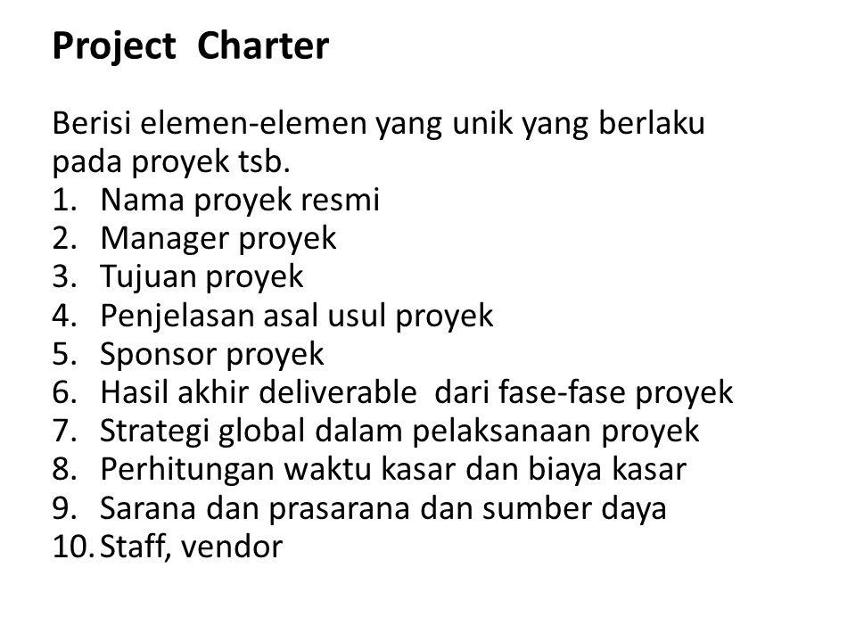 Project Charter Berisi elemen-elemen yang unik yang berlaku pada proyek tsb. 1.Nama proyek resmi 2.Manager proyek 3.Tujuan proyek 4.Penjelasan asal us