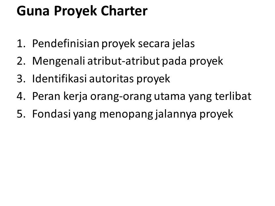 Guna Proyek Charter 1.Pendefinisian proyek secara jelas 2.Mengenali atribut-atribut pada proyek 3.Identifikasi autoritas proyek 4.Peran kerja orang-or