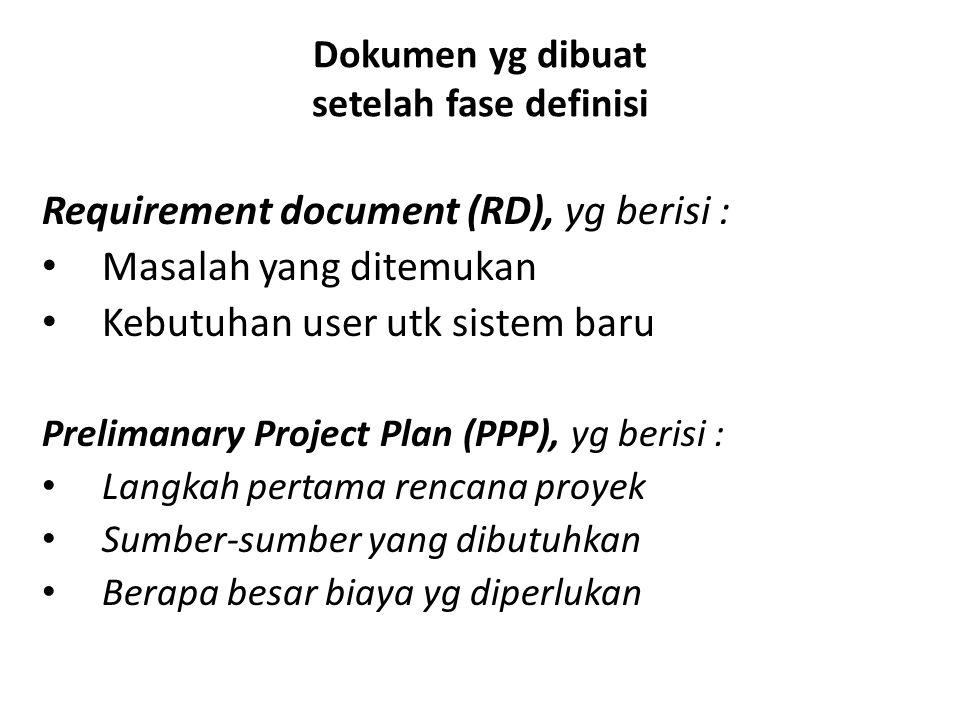 Dokumen yg dibuat setelah fase definisi Requirement document (RD), yg berisi : Masalah yang ditemukan Kebutuhan user utk sistem baru Prelimanary Proje