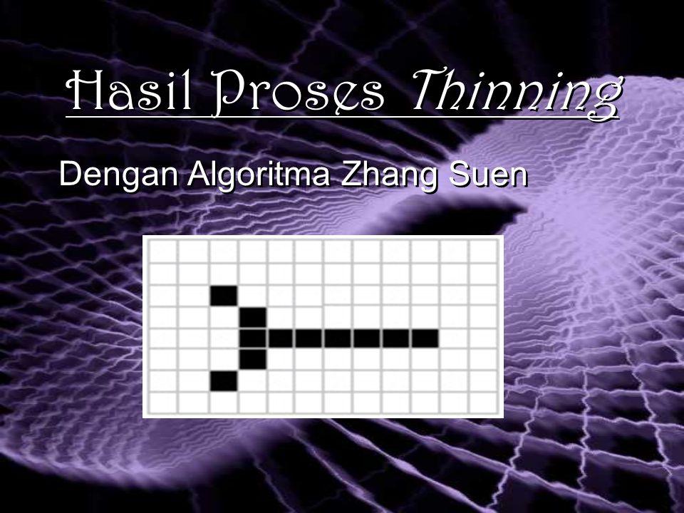 Hasil Proses Thinning Dengan Algoritma Zhang Suen