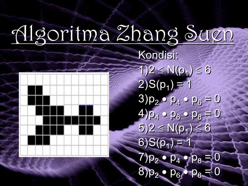 Algoritma Zhang Suen Kondisi: 1)2  N(p 1 )  6 2)S(p 1 ) = 1 3)p 2  p 4  p 6 = 0 4)p 4  p 6  p 8 = 0 5)2  N(p 1 )  6 6)S(p 1 ) = 1 7)p 2  p 4  p 8 = 0 8)p 2  p 6  p 8 = 0 Kondisi: 1)2  N(p 1 )  6 2)S(p 1 ) = 1 3)p 2  p 4  p 6 = 0 4)p 4  p 6  p 8 = 0 5)2  N(p 1 )  6 6)S(p 1 ) = 1 7)p 2  p 4  p 8 = 0 8)p 2  p 6  p 8 = 0