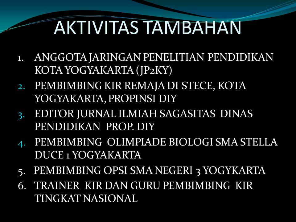 AKTIVITAS TAMBAHAN 1.ANGGOTA JARINGAN PENELITIAN PENDIDIKAN KOTA YOGYAKARTA (JP2KY) 2.