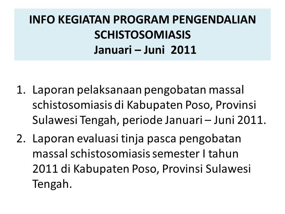 INFO KEGIATAN PROGRAM PENGENDALIAN SCHISTOSOMIASIS Januari – Juni 2011 1.Laporan pelaksanaan pengobatan massal schistosomiasis di Kabupaten Poso, Provinsi Sulawesi Tengah, periode Januari – Juni 2011.