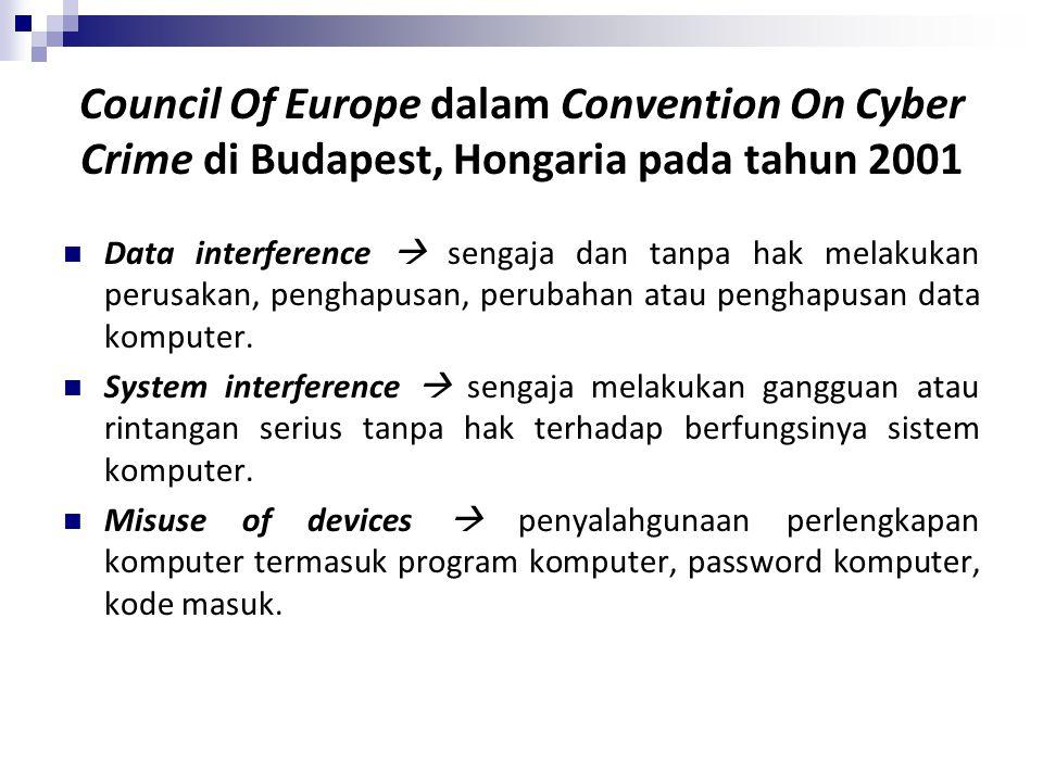 Council Of Europe dalam Convention On Cyber Crime di Budapest, Hongaria pada tahun 2001 Data interference  sengaja dan tanpa hak melakukan perusakan,