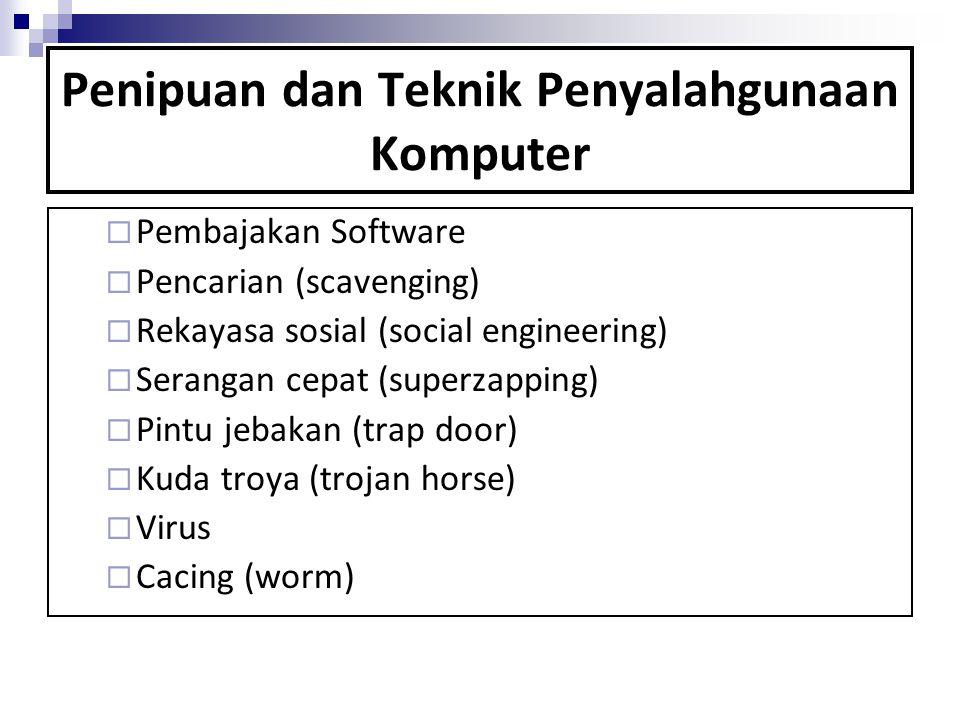 Penipuan dan Teknik Penyalahgunaan Komputer  Pembajakan Software  Pencarian (scavenging)  Rekayasa sosial (social engineering)  Serangan cepat (su