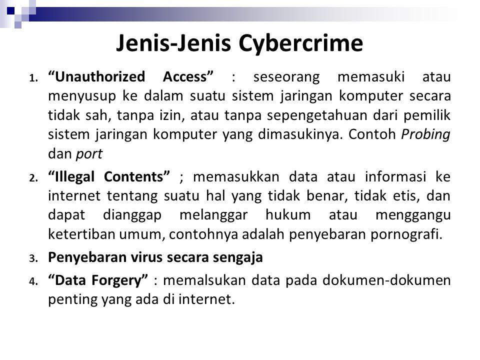 "Jenis-Jenis Cybercrime 1. ""Unauthorized Access"" : seseorang memasuki atau menyusup ke dalam suatu sistem jaringan komputer secara tidak sah, tanpa izi"