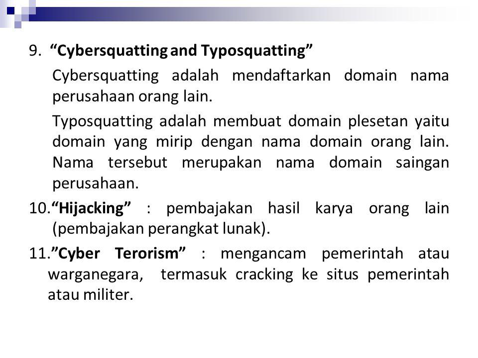 """9. """"Cybersquatting and Typosquatting"""" Cybersquatting adalah mendaftarkan domain nama perusahaan orang lain. Typosquatting adalah membuat domain pleset"""