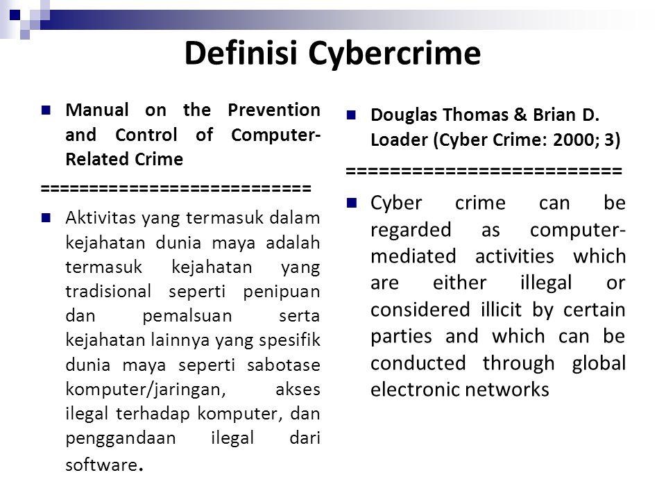 Definisi Cybercrime Manual on the Prevention and Control of Computer- Related Crime =========================== Aktivitas yang termasuk dalam kejahata