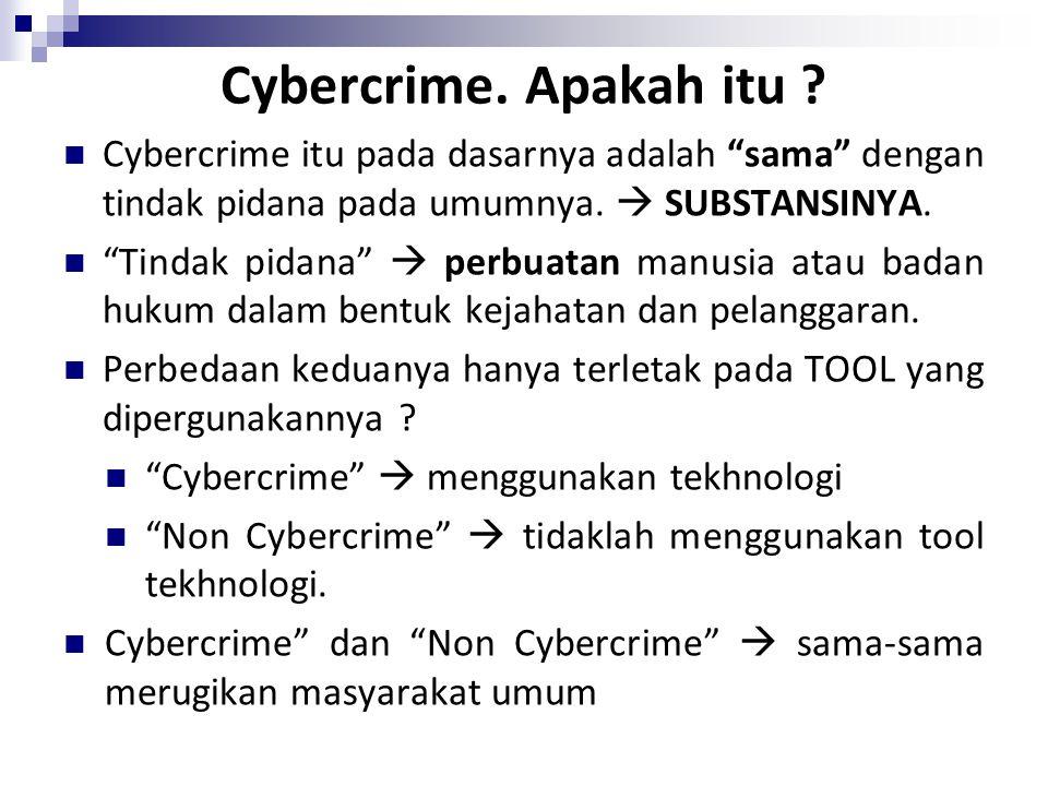 """Cybercrime. Apakah itu ? Cybercrime itu pada dasarnya adalah """"sama"""" dengan tindak pidana pada umumnya.  SUBSTANSINYA. """"Tindak pidana""""  perbuatan man"""