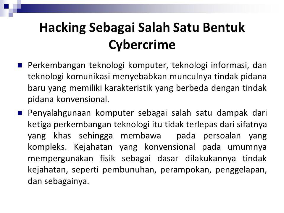 Hacking Sebagai Salah Satu Bentuk Cybercrime Perkembangan teknologi komputer, teknologi informasi, dan teknologi komunikasi menyebabkan munculnya tind