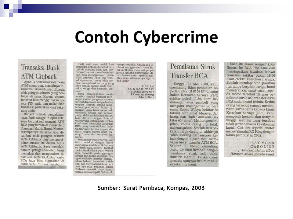 Contoh Cybercrime Sumber: Surat Pembaca, Kompas, 2003