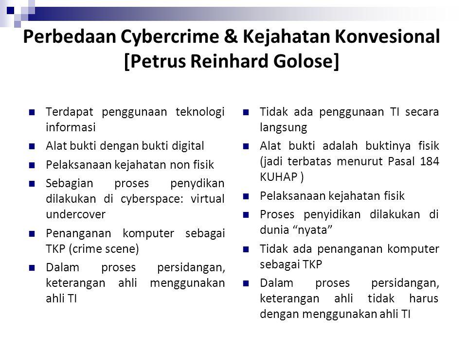 Perbedaan Cybercrime & Kejahatan Konvesional [Petrus Reinhard Golose] Terdapat penggunaan teknologi informasi Alat bukti dengan bukti digital Pelaksan
