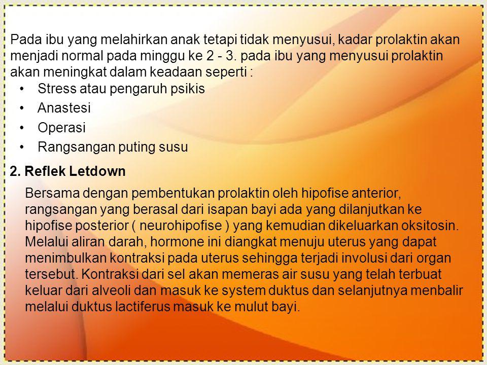 2. Reflek Letdown Stress atau pengaruh psikis Anastesi Operasi Rangsangan puting susu Pada ibu yang melahirkan anak tetapi tidak menyusui, kadar prola