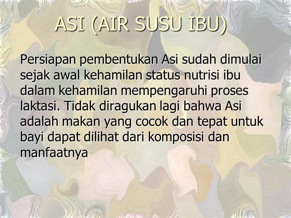ASI (AIR SUSU IBU) Persiapan pembentukan Asi sudah dimulai sejak awal kehamilan status nutrisi ibu dalam kehamilan mempengaruhi proses laktasi. Tidak