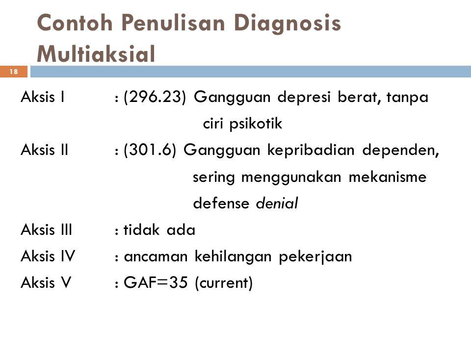 18 Contoh Penulisan Diagnosis Multiaksial Aksis I : (296.23) Gangguan depresi berat, tanpa ciri psikotik Aksis II: (301.6) Gangguan kepribadian depend