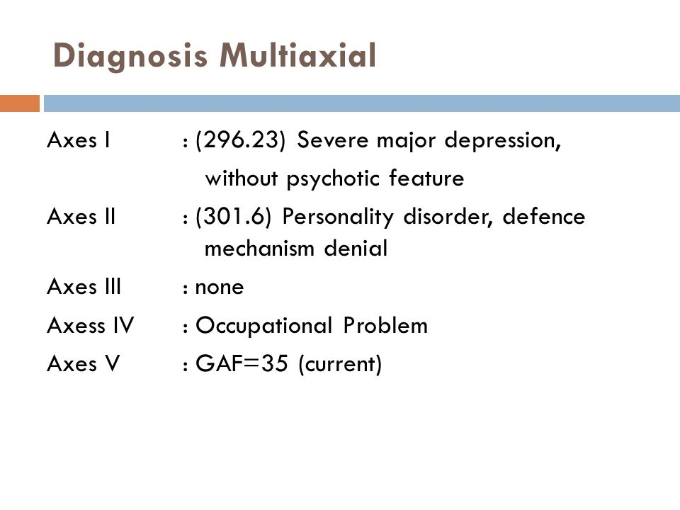 Diagnosis Multiaxial Axes I : (296.23) Severe major depression, without psychotic feature Axes II: (301.6) Personality disorder, defence mechanism den