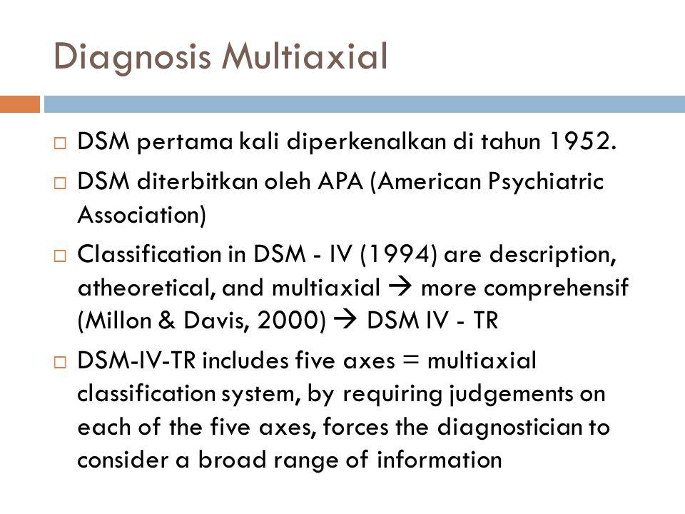 Diagnosis Multiaxial  DSM pertama kali diperkenalkan di tahun 1952.  DSM diterbitkan oleh APA (American Psychiatric Association)  Classification in