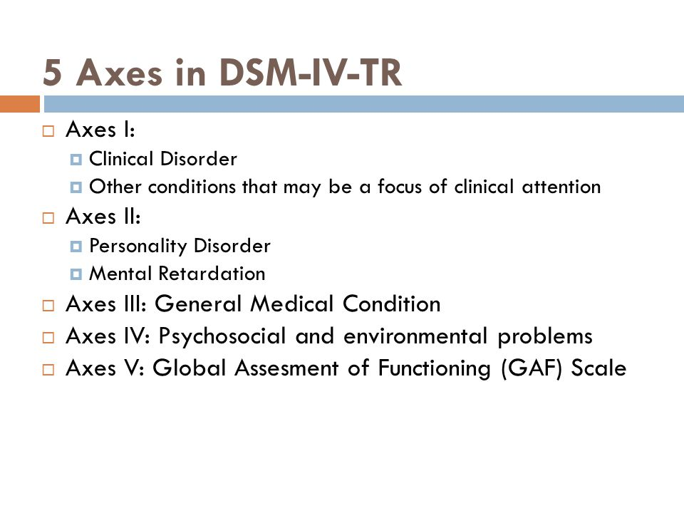 5 Axes in DSM-IV-TR  Axes I:  Clinical Disorder  Other conditions that may be a focus of clinical attention  Axes II:  Personality Disorder  Men