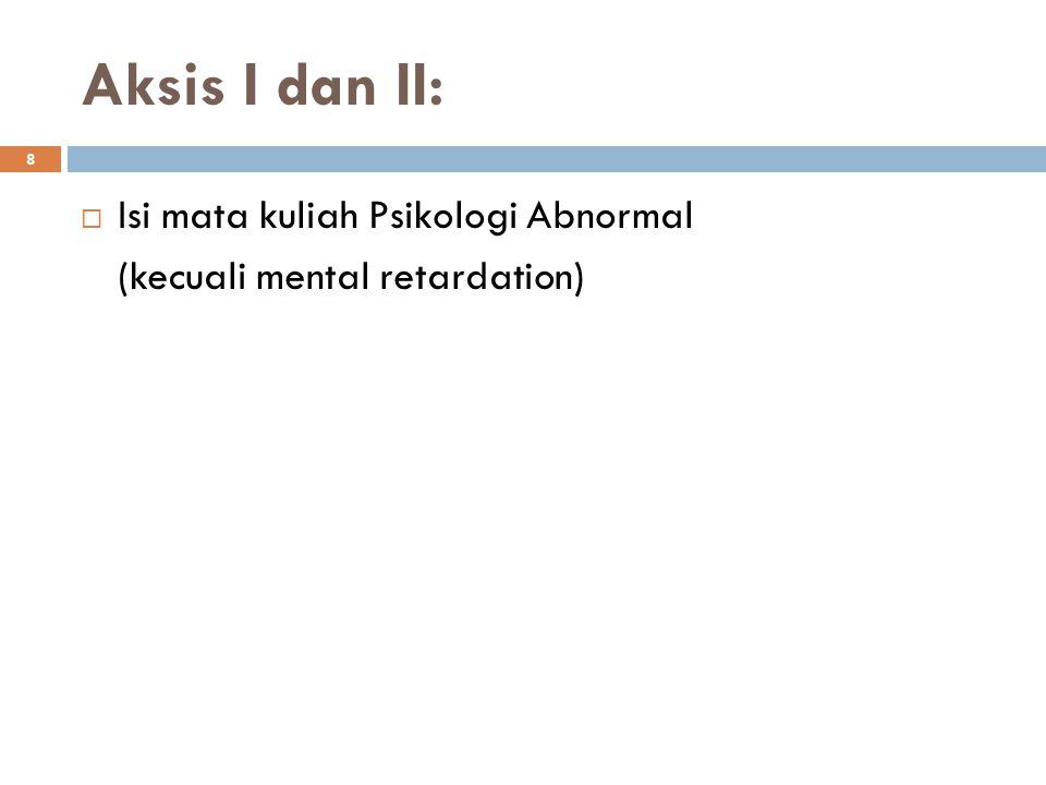 8 Aksis I dan II:  Isi mata kuliah Psikologi Abnormal (kecuali mental retardation)