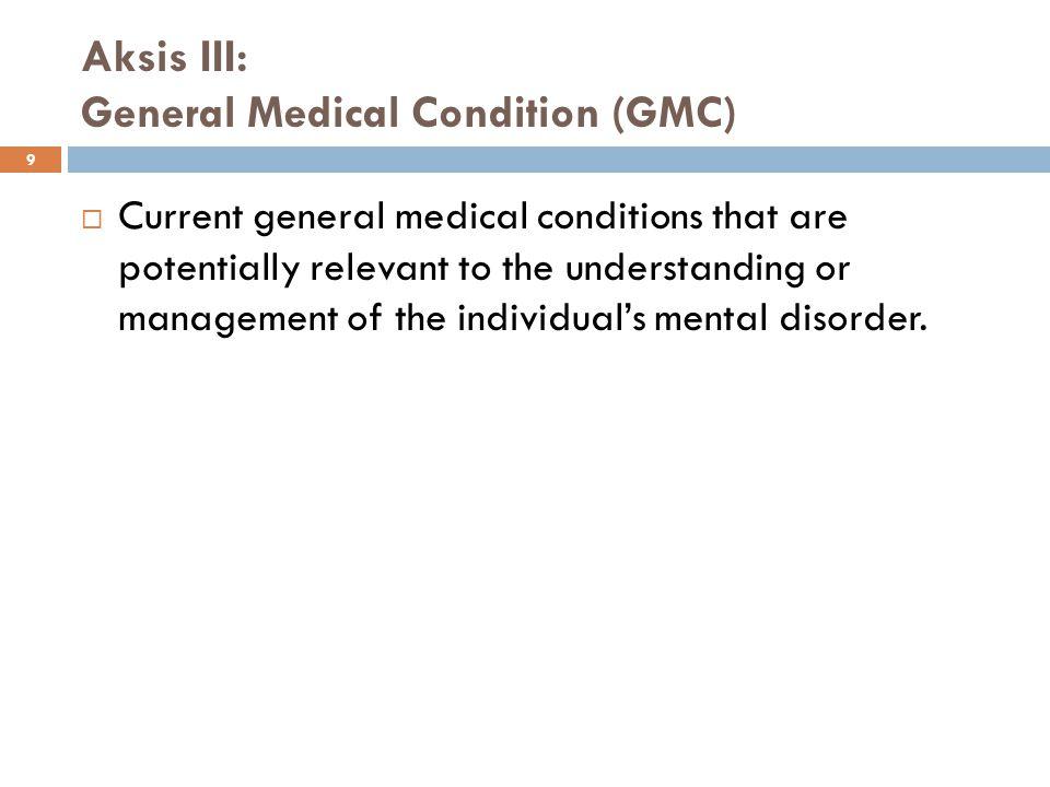 10 GMC can be related to mental disorders in several ways:  Bila GMC merupakan etiologi perkembangan atau memburuknya simtom mental  efek fisiologis, mis.