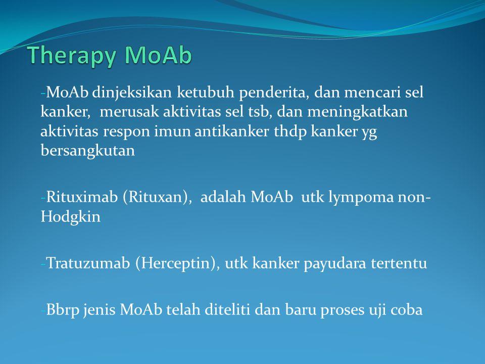 - MoAb dinjeksikan ketubuh penderita, dan mencari sel kanker, merusak aktivitas sel tsb, dan meningkatkan aktivitas respon imun antikanker thdp kanker yg bersangkutan - Rituximab (Rituxan), adalah MoAb utk lympoma non- Hodgkin - Tratuzumab (Herceptin), utk kanker payudara tertentu - Bbrp jenis MoAb telah diteliti dan baru proses uji coba