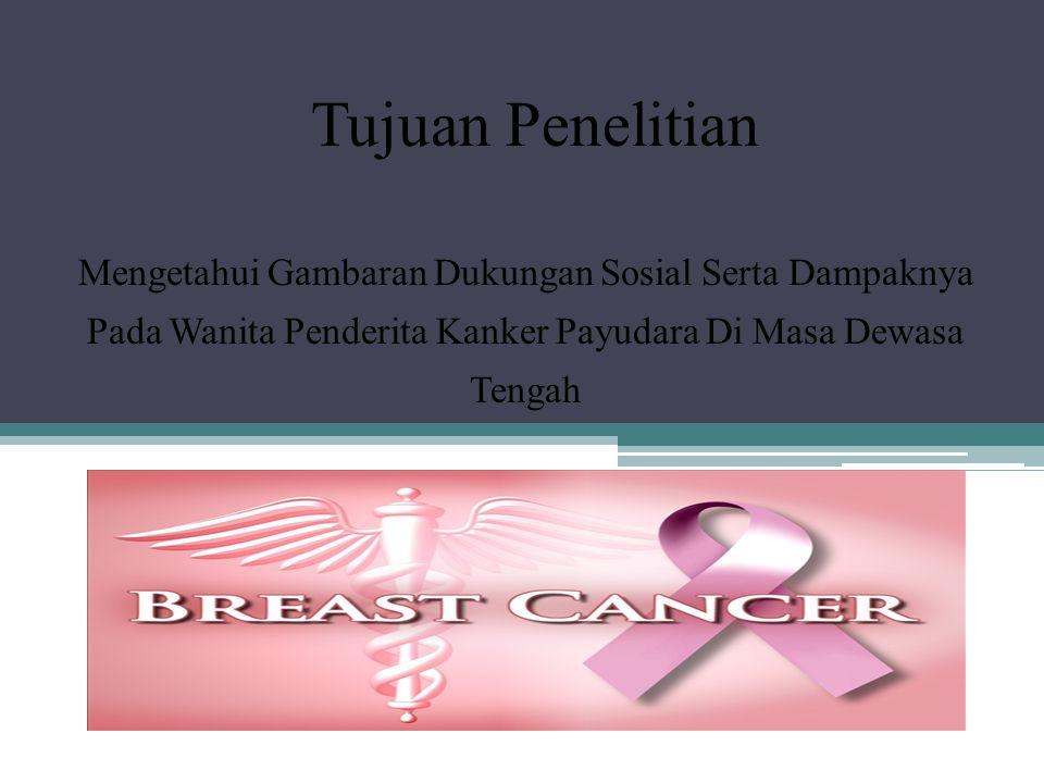 Tujuan Penelitian Mengetahui Gambaran Dukungan Sosial Serta Dampaknya Pada Wanita Penderita Kanker Payudara Di Masa Dewasa Tengah