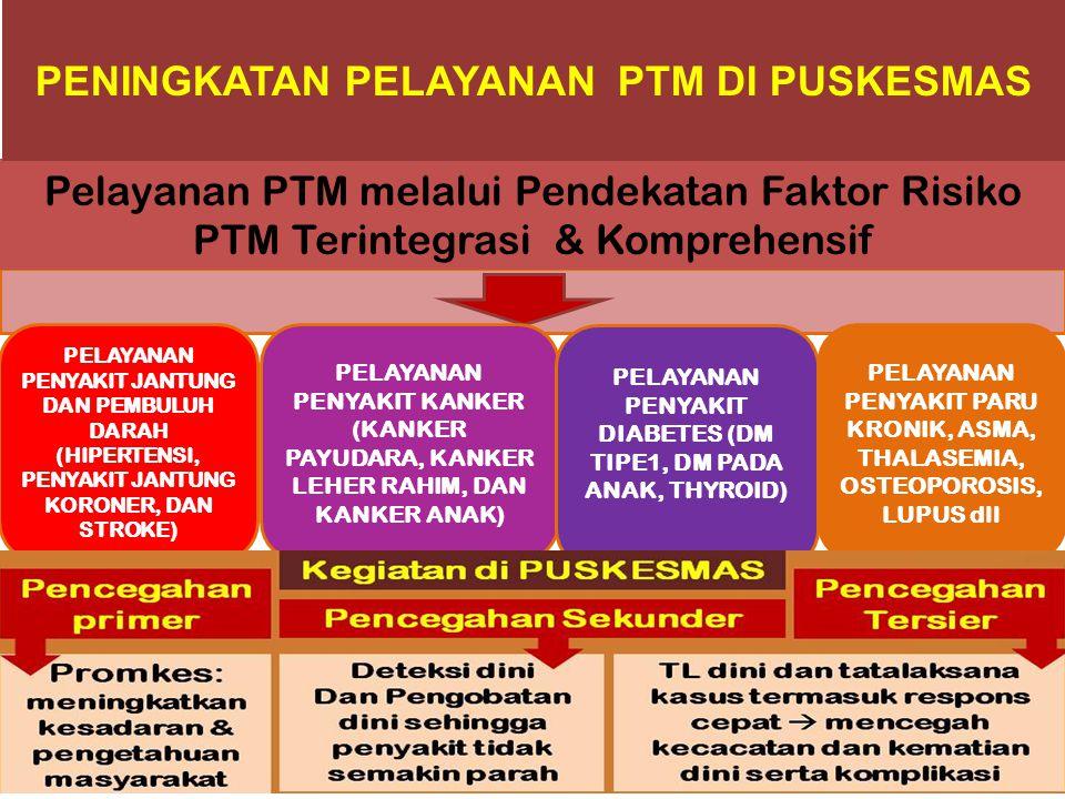 Pelayanan PTM melalui Pendekatan Faktor Risiko PTM Terintegrasi & Komprehensif PENINGKATAN PELAYANAN PTM DI PUSKESMAS PELAYANAN PENYAKIT JANTUNG DAN P