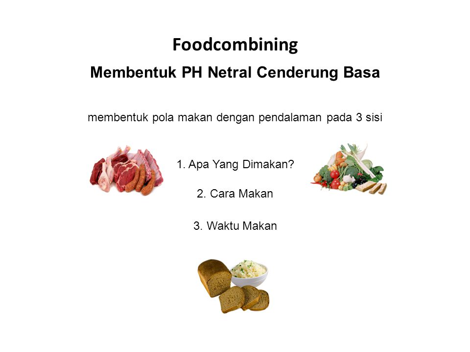 Foodcombining membentuk pola makan dengan pendalaman pada 3 sisi 1.