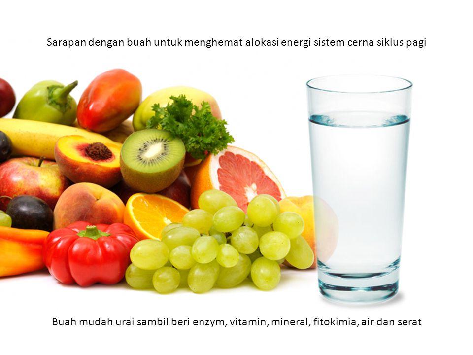 Sarapan dengan buah untuk menghemat alokasi energi sistem cerna siklus pagi Buah mudah urai sambil beri enzym, vitamin, mineral, fitokimia, air dan serat