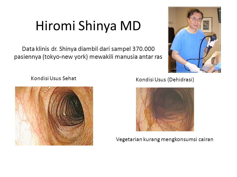 Kondisi Usus Sehat Kondisi Usus (Dehidrasi) Vegetarian kurang mengkonsumsi cairan Hiromi Shinya MD Data klinis dr.