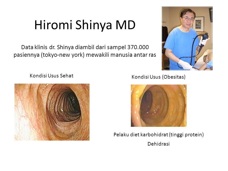 Kondisi Usus Sehat Kondisi Usus (Obesitas) Pelaku diet karbohidrat (tinggi protein) Dehidrasi Hiromi Shinya MD Data klinis dr.