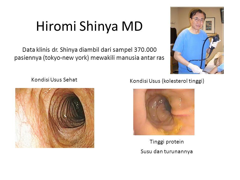 Kondisi Usus Sehat Kondisi Usus (kolesterol tinggi) Tinggi protein Susu dan turunannya Hiromi Shinya MD Data klinis dr.