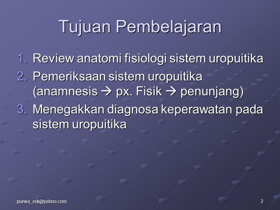 Tujuan Pembelajaran 1.Review anatomi fisiologi sistem uropuitika 2.Pemeriksaan sistem uropuitika (anamnesis  px. Fisik  penunjang) 3.Menegakkan diag