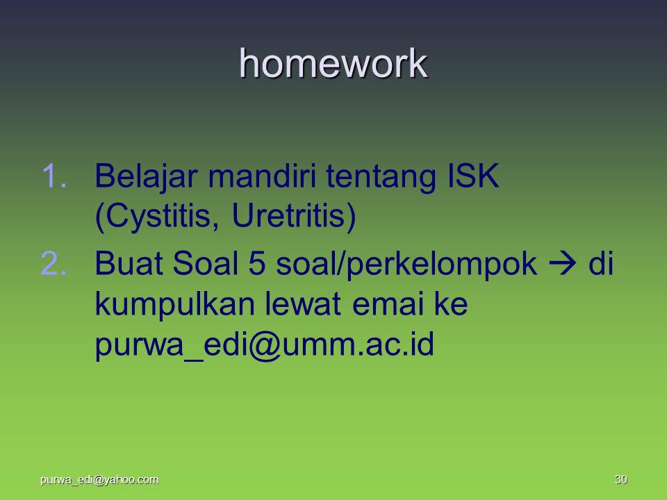 homework 1. 1.Belajar mandiri tentang ISK (Cystitis, Uretritis) 2. 2.Buat Soal 5 soal/perkelompok  di kumpulkan lewat emai ke purwa_edi@umm.ac.id 30p
