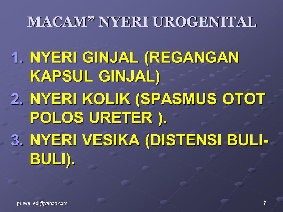 "MACAM"" NYERI UROGENITAL 1.NYERI GINJAL (REGANGAN KAPSUL GINJAL) 2.NYERI KOLIK (SPASMUS OTOT POLOS URETER ). 3.NYERI VESIKA (DISTENSI BULI- BULI). 7pur"