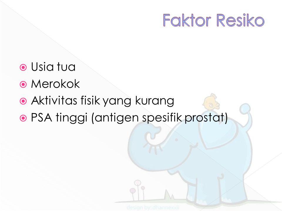  Usia tua  Merokok  Aktivitas fisik yang kurang  PSA tinggi (antigen spesifik prostat)