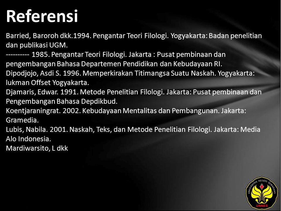 Referensi Barried, Baroroh dkk.1994. Pengantar Teori Filologi. Yogyakarta: Badan penelitian dan publikasi UGM. ---------- 1985. Pengantar Teori Filolo