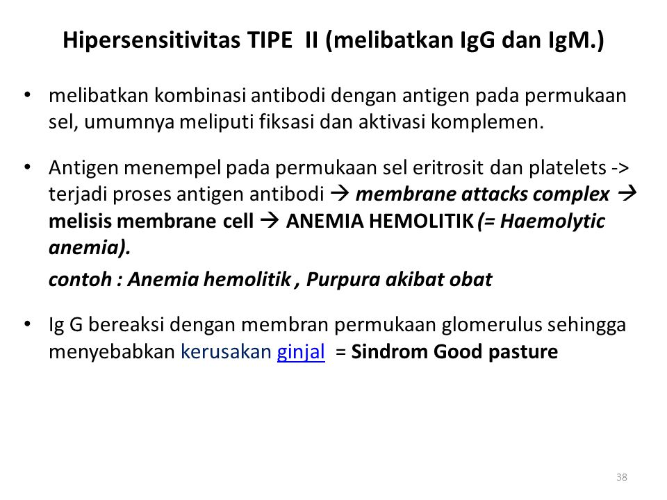 38 Hipersensitivitas TIPE II (melibatkan IgG dan IgM.) melibatkan kombinasi antibodi dengan antigen pada permukaan sel, umumnya meliputi fiksasi dan a