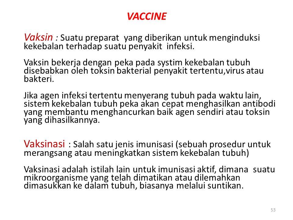 53 VACCINE Vaksin : Suatu preparat yang diberikan untuk menginduksi kekebalan terhadap suatu penyakit infeksi. Vaksin bekerja dengan peka pada systim