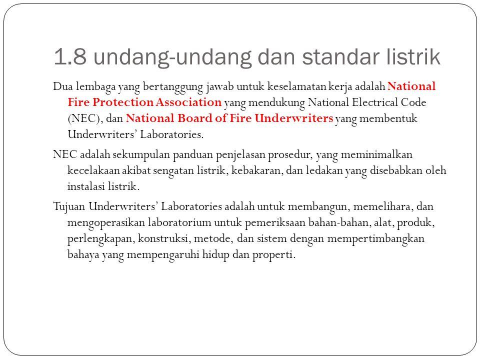 1.8 undang-undang dan standar listrik Dua lembaga yang bertanggung jawab untuk keselamatan kerja adalah National Fire Protection Association yang mend
