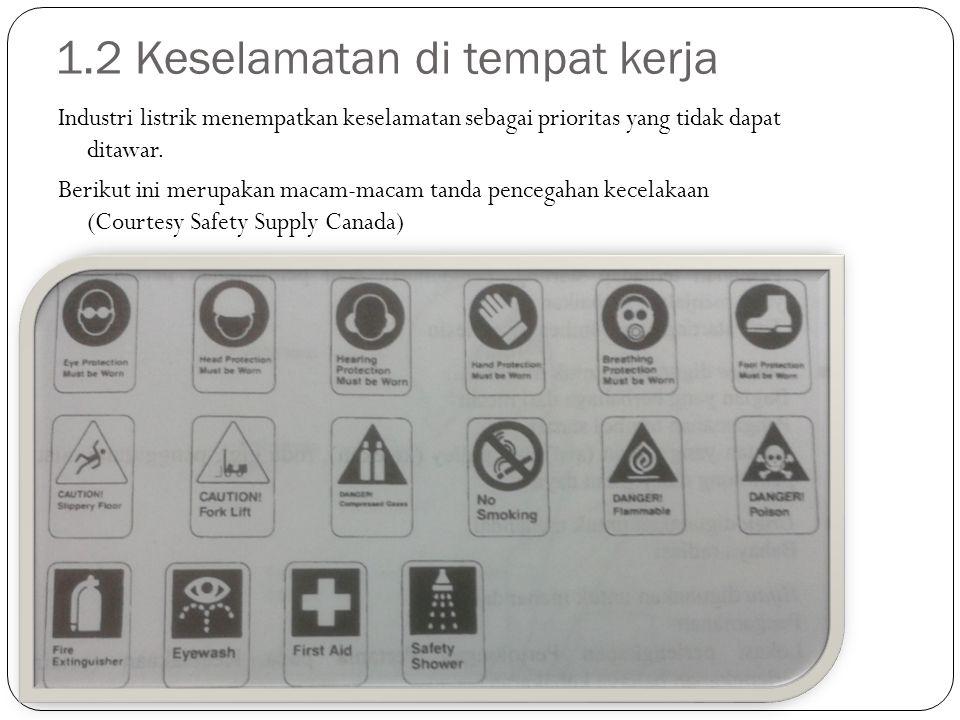 1.2 Keselamatan di tempat kerja Industri listrik menempatkan keselamatan sebagai prioritas yang tidak dapat ditawar. Berikut ini merupakan macam-macam