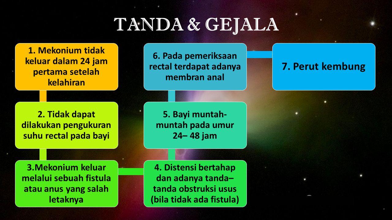 TANDA & GEJALA 1. Mekonium tidak keluar dalam 24 jam pertama setelah kelahiran 2. Tidak dapat dilakukan pengukuran suhu rectal pada bayi 3.Mekonium ke