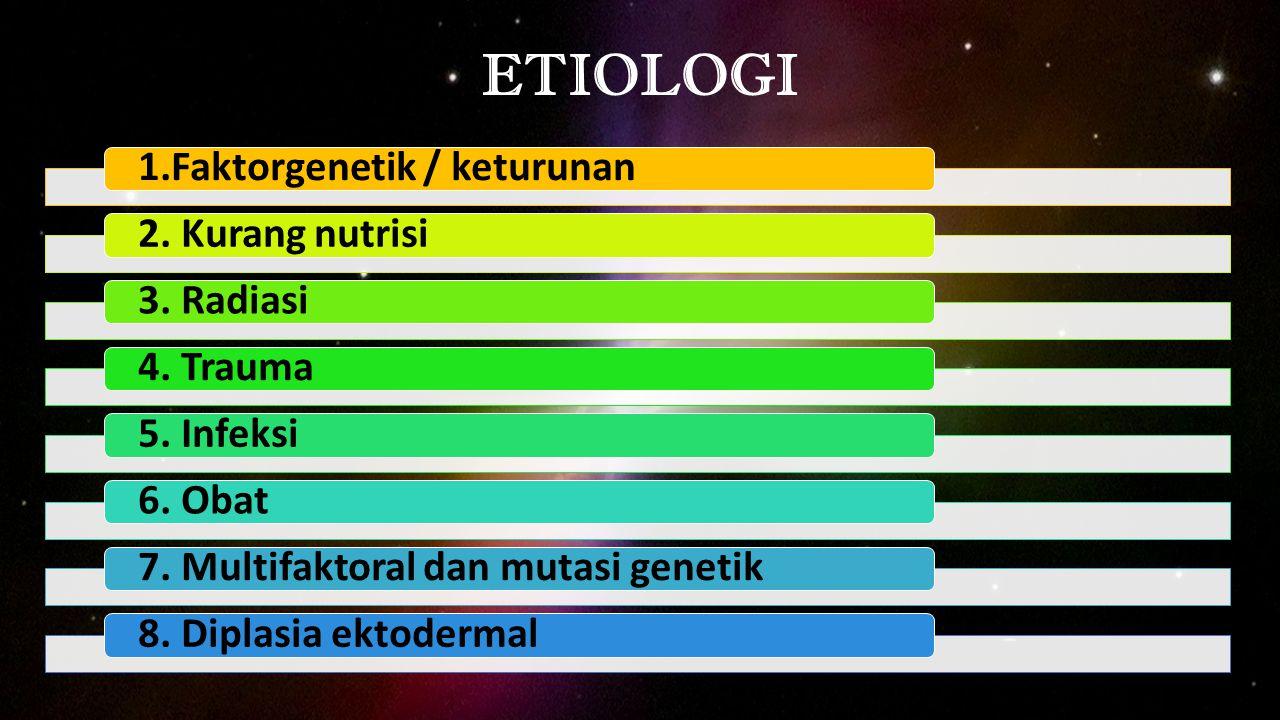 ETIOLOGI 1.Faktorgenetik / keturunan2. Kurang nutrisi3. Radiasi4. Trauma5. Infeksi6. Obat7. Multifaktoral dan mutasi genetik8. Diplasia ektodermal