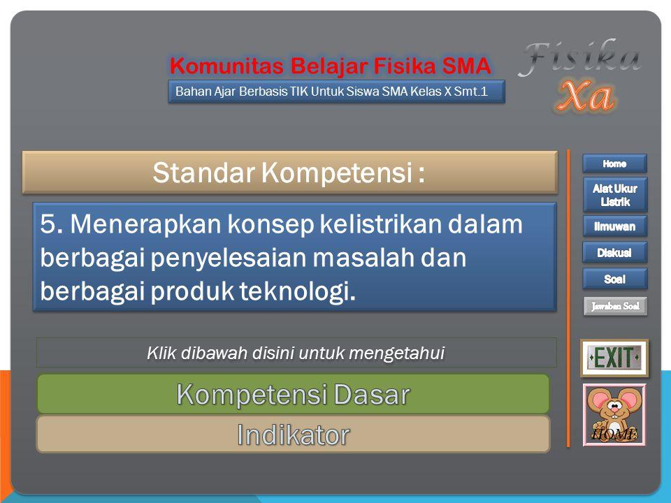 Standar Kompetensi : Bahan Ajar Berbasis TIK Untuk Siswa SMA Kelas X Smt.1 5.