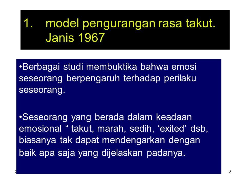 27-3-07ant.srihartono2 1.model pengurangan rasa takut. Janis 1967 Berbagai studi membuktika bahwa emosi seseorang berpengaruh terhadap perilaku seseor