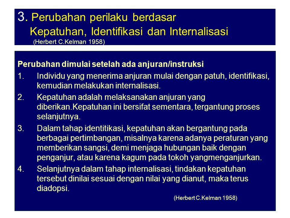 27-3-07ant.srihartono5 3. Perubahan perilaku berdasar Kepatuhan, Identifikasi dan Internalisasi ( Herbert C.Kelman 1958) Perubahan dimulai setelah ada