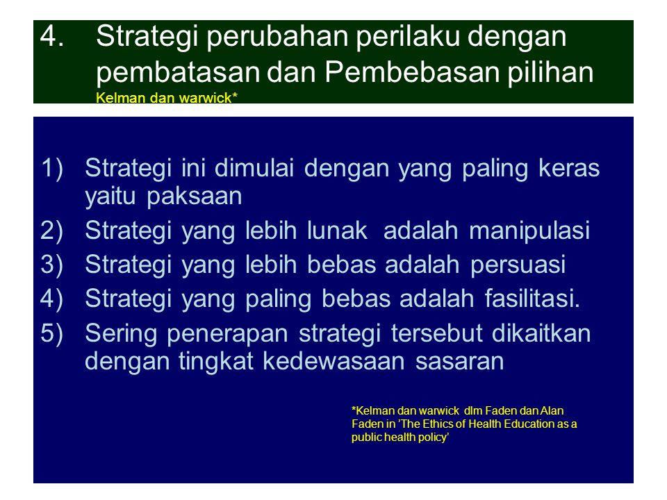 27-3-07ant.srihartono7 4.Strategi perubahan perilaku dengan pembatasan dan Pembebasan pilihan Kelman dan warwick* 1)Strategi ini dimulai dengan yang p