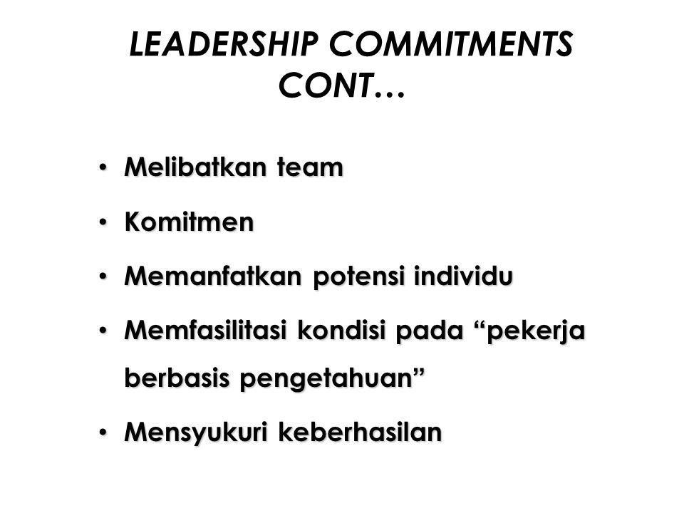 LEADERSHIP COMMITMENTS CONT… Melibatkan team Melibatkan team Komitmen Komitmen Memanfatkan potensi individu Memanfatkan potensi individu Memfasilitasi