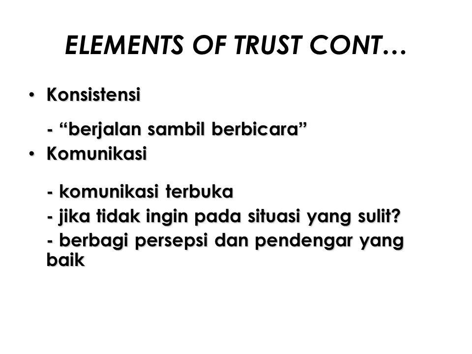"""ELEMENTS OF TRUST CONT… Konsistensi Konsistensi - """"berjalan sambil berbicara"""" Komunikasi Komunikasi - komunikasi terbuka - jika tidak ingin pada situa"""